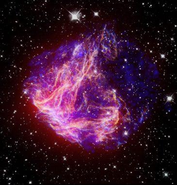 N49, ein Supernova-Überrest in der Großen Magellanschen Wolke (X-ray: NASA / CXC / Caltech / S.Kulkarni et al.; Optical: NASA / STScI / UIUC / Y.H.Chu & R.Williams et al.; IR: NASA / JPL-Caltech / R.Gehrz et al.)