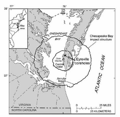 Schematische Darstellung des Chesapeake-Bay-Kraters an der Ostküste der USA (Cockell et al., 2012)