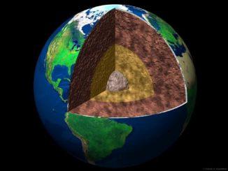Schematischer Aufbau der Erde; der Erdmantel ist hier dunkelbraun dargestellt. (University of Chicago)