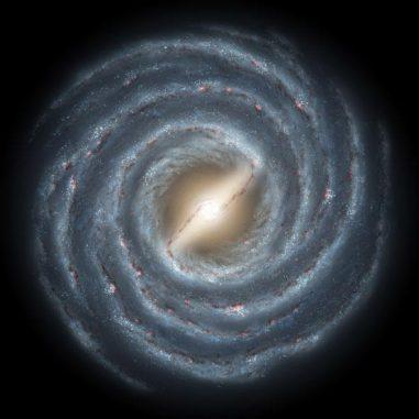 Schematische Darstellung unserer Milchstraßen-Galaxie in der Draufsicht. (NASA / JPL)