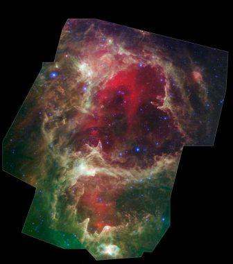 Die Sternentstehungsregion W5, aufgenommen vom Spitzer Space Telescope. (NASA / JPL-Caltech / Harvard-Smithsonian CfA)