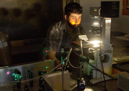 Karl Grieshop verwendet ein Präzisions-Lasersystem, um die dornartigen Stacheln der männlichen Fruchtfliegen zu kürzen. (Jay Yocis, University of Cincinnati)