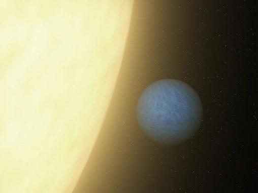 Künstlerische Darstellung von 55 Cancri e und seinem Zentralstern. (NASA / JPL-Caltech)