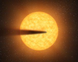 Künstlerische Darstellung des Exoplaneten mit seinem Staubschweif vor dem Zentralstern KIC 12557548. (NASA)