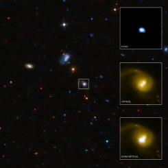 Detailaufnahmen des Systems CID-42. Man erkennt zwei optische Lichtquellen, aber nur eine Quelle für Röntgenstrahlung. (X-ray: NASA / CXC / SAO / F.Civano et al; Optical: NASA / STScI; Optical (wide field): CFHT, NASA / STScI)