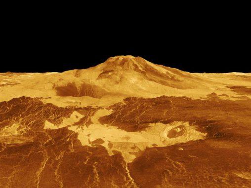 3D-Ansicht des Vulkans Maat Mons auf der Venus, basierend auf Radardaten der Raumsonde Magellan. (NASA / JPL)