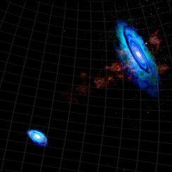 Diese Grafik zeigt die Gasbrücke zwischen der Andromeda-Galaxie M31 (rechts) und dem Dreiecksnebel M33 (Bill Saxton, NRAO / AUI / NSF)