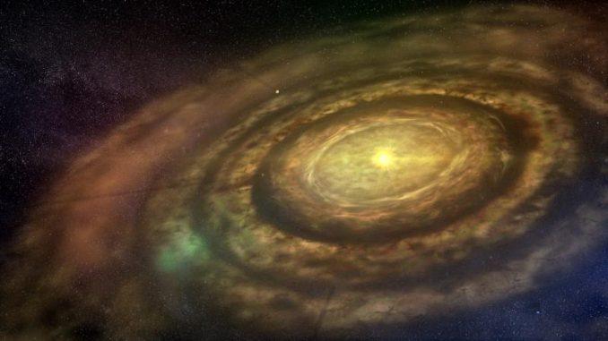 Diese künstlerische Darstellung zeigt einen neu entstandenen Stern mit seiner rotierenden protoplanetaren Scheibe aus Gas und Staub. (University of Copenhagen / Lars Buchhave)
