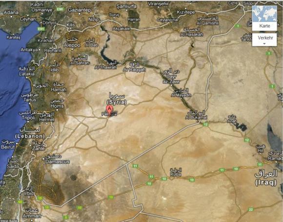 Palmyra liegt mitten in der syrischen Wüste, hier durch das rote A markiert. (googlemaps)