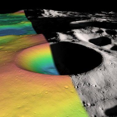 Höhenprofil (links) und Schattenrelief (rechts) des Kraters Shackleton in der Nähe des lunaren Südpols. Ein digitales Höhenmodell aus über fünf Millionen Messungen offenbarte die innere Struktur des Kraters. (NASA / Zuber, M.T. et al., Nature, 2012)
