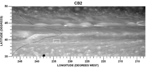 Ein Beispiel für einen sehr starken Jetstream auf Saturn. Es ist die auffällige, helle Struktur im linken Teil der Aufnahme. Die schwarze Linie stellt den Verlauf der durchschnittlichen Windgeschwindigkeit in Abhängigkeit von der geographischen Breite dar. Das weiße Rechteck markiert eine Region, auf die der Verfolgungsalgorithmus angewandt wurde. (NASA / JPL-Caltech / SSI)