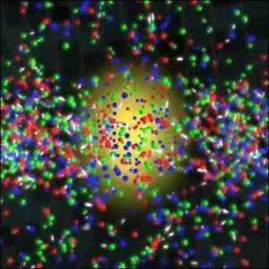 Im RHIC verschmelzen Protonen und Neutronen, um ein Quark-Gluonen-Plasma zu bilden. (RHIC)
