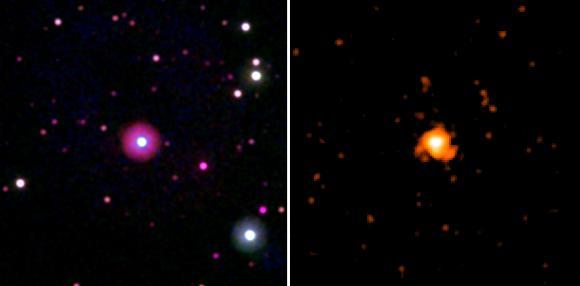 Aufnahmen des Sterns HD 189733A vom 13. September 2011 in ultravioletten Wellenlängen (links) und vom 13./14. September 2011 im Röntgenbereich (rechts). (NASA / Swift / Stefan Immler)