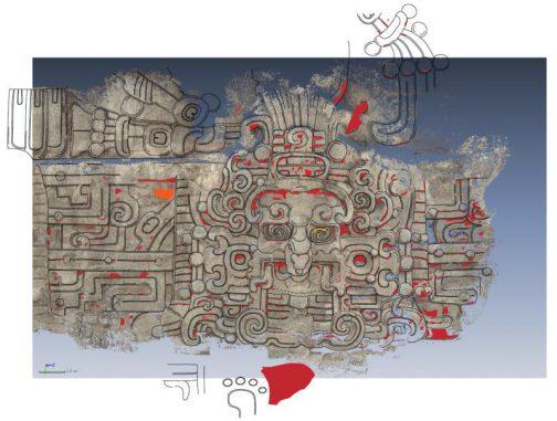 Die Nordseite der Diablo-Pyramide. Ein Bildnis zeigt den Sonnengott der Maya. (Stephen Houston)