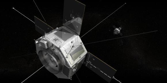Etwa so werden die RBSP-Sonden im Weltraum aussehen. (NASA / Goddard Space Flight Center)
