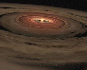 Künstlerische Darstellung einer protoplanetaren Gas- und Staubscheibe. (NASA / JPL-Caltech)