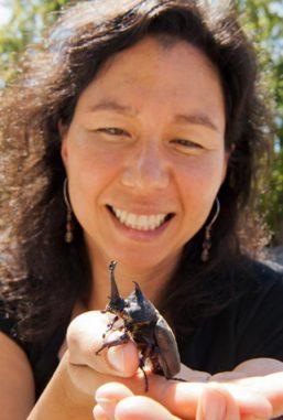 Laura Lavine mit einem Nashornkäfer. (Washington State University)