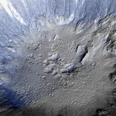 3D-Ansicht vom Innenbereich des Zumba-Kraters auf dem Mars. (NASA / JPL / UA)