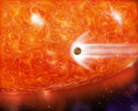 Künstlerische Darstellung eines Roten Riesen, der einen jupiterähnlichen Planeten verschlingt. (NASA)