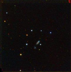 Die Supernova PTF 11kx ist der blaue Punkt in der Galaxie nahe der Bildmitte. Diese Aufnahme wurde gemacht, als die Supernova fast ihre maximale Helligkeit erreicht hatte. (BJ Fulton, Las Cumbres Observatory Global Telescope Network)