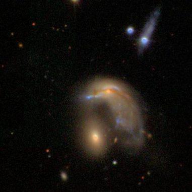 Freiwillige Teilnehmer des Galaxy Zoo Projekts haben unter anderem diese Pinguin-förmige Galaxie entdeckt. (SDSS)