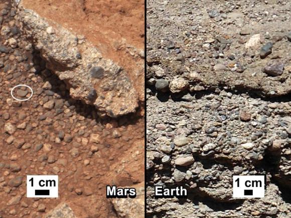 Vergleich zwischen Gesteinsaufschlüssen und Konglomeraten auf dem Mars und auf der Erde. (NASA / JPL-Caltech / MSSS and PSI)