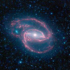 Infrarotansicht der Spiralgalaxie NGC 1097, aufgenommen vom Weltraumteleskop Spitzer. (NASA / JPL-Caltech / The SINGS Team (SSC / Caltech))