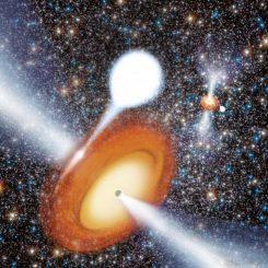 Künstlerische Darstellung der beiden Schwarzen Löcher im Kugelsternhaufen Messier 22. (Benjamin de Bivort; Strader, et al.; NRAO / AUI / NSF)