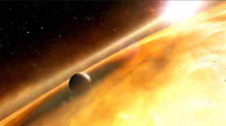 Künstlerische Darstellung des Exoplaneten Fomalhaut b. (ESA; Hubble, M. Kornmesser; and ESO, L. Calçada and L. L. Christensen)