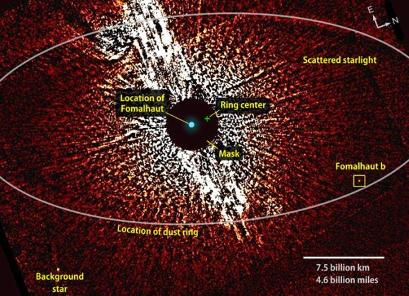 Diese Aufnahme machte das Hubble-Teleskop in sichtbarem Licht. Sie zeigt die Umgebung des Sterns Fomalhaut (Mitte, von einer Maske verdeckt) mit der Position des Staubrings und dem Exoplaneten Fomalhaut b. (NASA / ESA / T. Currie, U. Toronto)