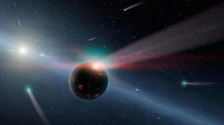 Künstlerische Darstellung eines Gesteinsplaneten, der von Kometen bombardiert wird. (NASA / JPL-Caltech)