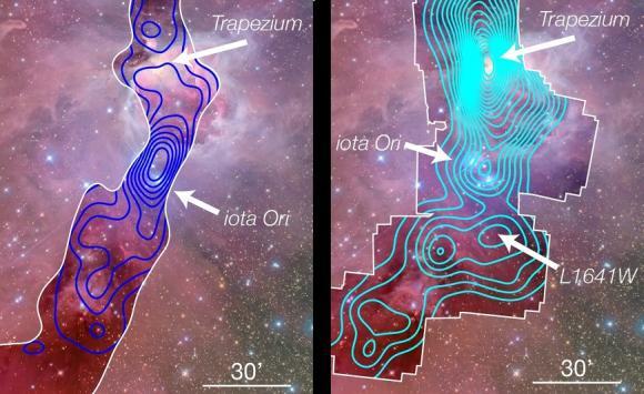 Links: Die CFHT-Daten des sichtbaren Lichts zeigen eine Anhäufung von Sternen um den massereichen O-Typ-Stern Iota Ori (blaue Linien). Der Trapezium-Sternhaufen erscheint auf dieser Karte nicht einmal, weil er tief in die Molekülwolke eingebettet ist. Rechts: Röntgenphotonen können die Molekülwolke allerdings durchdringen, deswegen ist der Trapezium-Sternhaufen im Röntgenspektrum sichtbar. Aber auch hier zeigt sich in der Umgebung des Sterns Iota Ori eine Anhäufung von Sternen. (J. Alves & H. Bouy; Hintergrundbild: Jon Christensen)