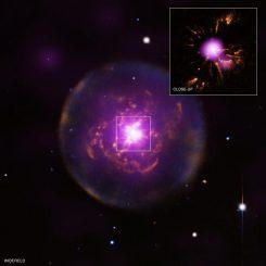 Der planetarische Nebel Abell 30 (A30), basierend auf Beobachtungsdaten mehrerer Observatorien und Weltraumteleskope. (Inset X-ray (NASA / CXC / IAA-CSIC / M.Guerrero et al); Inset Optical (NASA / STScI); Widefield X-ray (ESA / XMM-Newton); Widefield Optical (NSF / NOAO / KPNO)