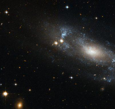 Die Spiralgalaxie ESO 499-G37, aufgenommen vom Weltraumteleskop Hubble. (ESA / Hubble & NASA)
