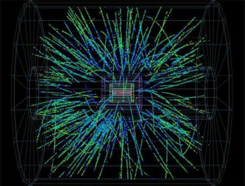 Ein Proton kollidiert mit einem Bleikern, wodurch ein Teilchenschauer auf den ALICE-Detektor niedergeht. (ALICE / CERN)