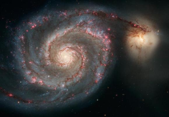 Die Whirlpool-Galaxie (links) und ihre Begleitgalaxie. (NASA, ESA, S. Beckwith (STScI), and The Hubble Heritage Team (STScI / AURA)