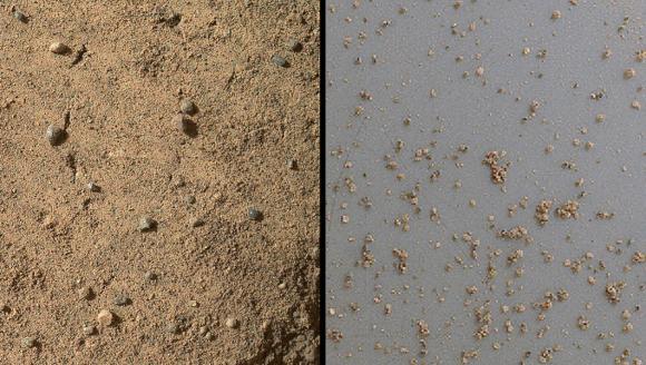 Die MAHLI-Kamera machte diese Nahaufnahmen der Rocknest-Verwehung, um die Natur des Materials zu dokumentieren, das anschließend im Inneren des Rovers analysiert wurde. (NASA / JPL-Caltech / MSSS)