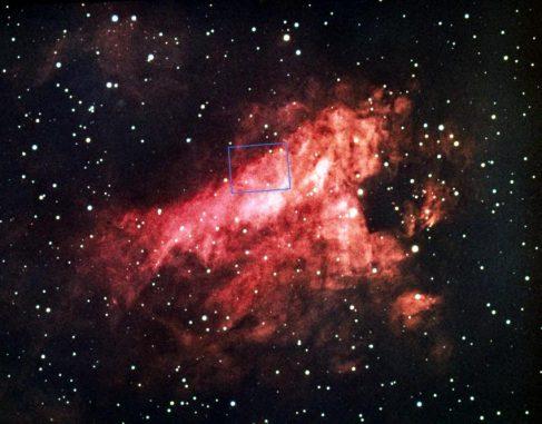 Aufnahme des Omeganebels mit einem erdgebundenen Teleskop. (NOAO / AURA / NSF)