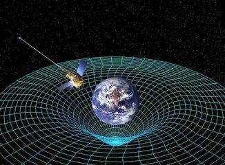 Nach der allgemeinen Relativitätstheorie krümmen große Massen, zum Beispiel Planeten wie die Erde, den Raum. (Illustration: NASA)