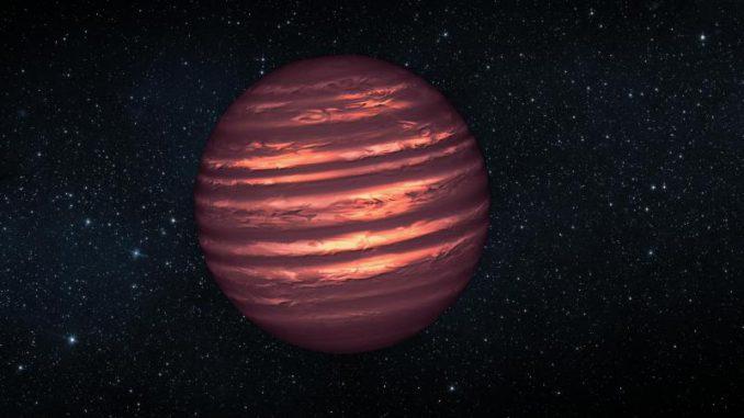 Künstlerische Darstellung des Braunen Zwergs 2MASSJ22282889-431026 und seiner atmosphärischen Wettersysteme. (NASA / JPL-Caltech)