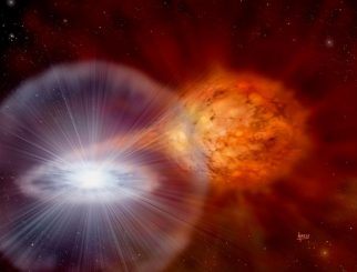 Künstlerische Darstellung einer Nova-Explosion in einem Doppelsternsystem. (David A Hardy and STFC)