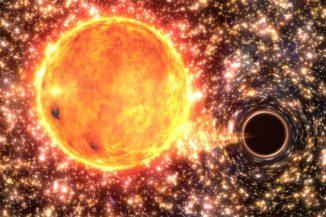 Künstlerische Darstellung eines Sterns, der bald von einem Schwarzen Loch verschlungen wird. (Swinburne University of Technology / Gabriel Perez Diaz)