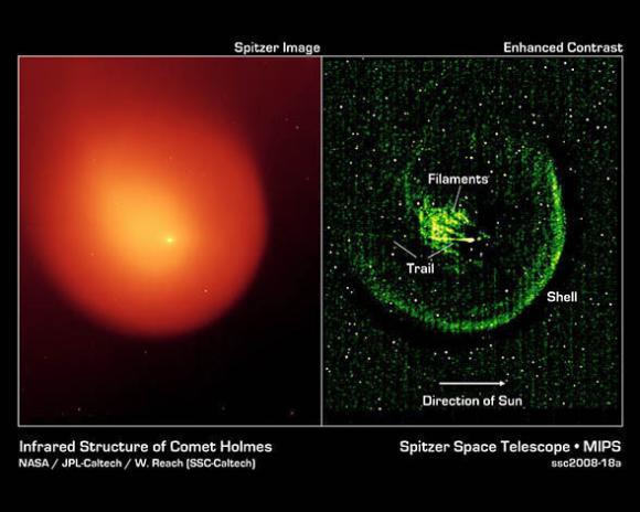 Normale Infrarotansicht des Kometen 17/P Holmes (links) und eine verbesserte Aufnahme (rechts). (NASA / JPL-Caltech / W. Reach (SSC-Caltech))
