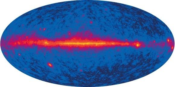 Der kosmische Gammastrahlungshintergrund, basierend auf Daten des Weltraumteleskops Fermi. (NASA / Fermi / LAT Collaboration)