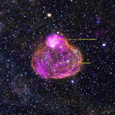 Die Superblase DEM L50, aufgenommen vom Weltraumteleskop Chandra. (X-ray: NASA / CXC / Univ of Michigan / A.E.Jaskot, Optical: NOAO / CTIO / MCELS)