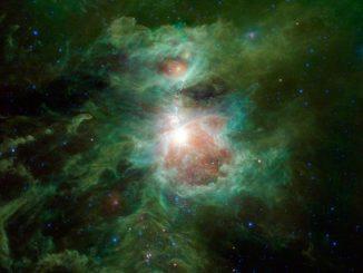 Der Orionnebel im Infrarotspektrum, aufgenommen vom Weltraumteleskop WISE. (NASA / JPL-Caltech / UCLA)
