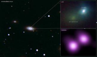 Die Supernova SN 2006gy in der Galaxie NGC 1260 gehört ebenfalls zum Typ IIn. Im Röntgenspektrum leuchtete die Supernova (oben rechts) ähnlich hell wie der gesamte Kern ihrer Heimatgalaxie (unten links). (X-ray: NASA / CXC, Nathan Smith, Weidong Li (UC Berkeley) et al.; IR: PAIRITEL / Lick / UC Berkeley / J.Bloom, C.Hansen)