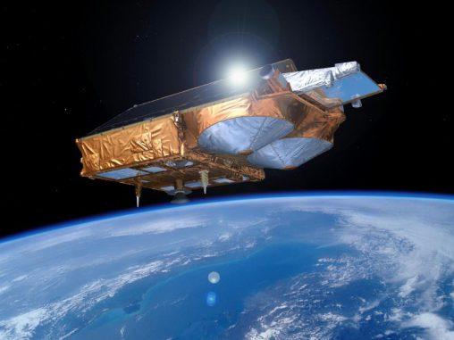 Künstlerische Darstellung des Satelliten CryoSat-2 im Orbit. (ESA / P. Carril)