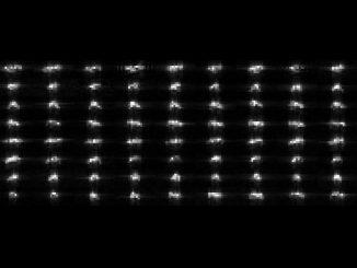 Collage der 72 einzelnen Radaraufnahmen des Asteroiden 2012 DA14, basierend auf Daten der Radaranlage in Goldstone. (NASA / JPL-Caltech)