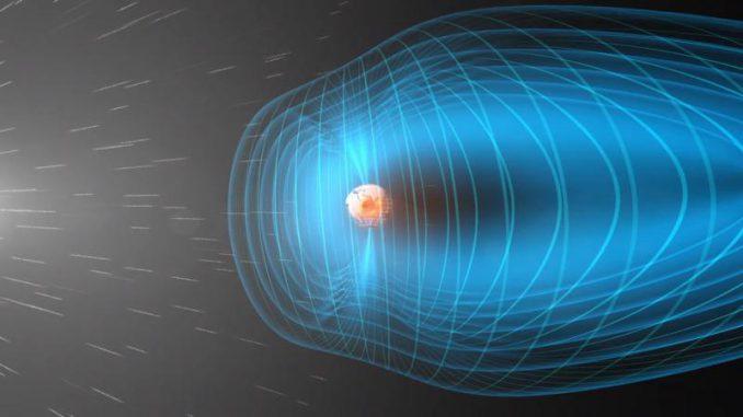 Schematische Darstellung der nahen Erdumgebung. Ein stetiger Strom aus solaren Partikeln trifft auf die Magnetosphäre der Erde. (European Space Agency (ESA))